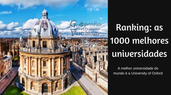 Ranking das Universidades: As 1000 melhores universidades de 77 países